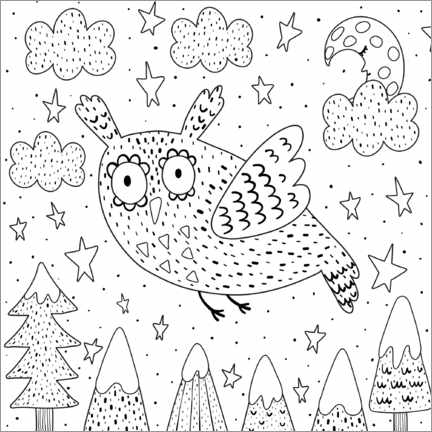 Colouring poster  Flying eagle owl