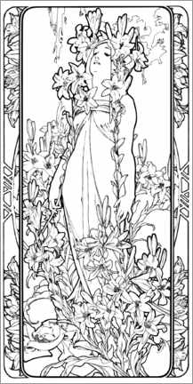 Colouring poster The Flowers - Lily, black and white