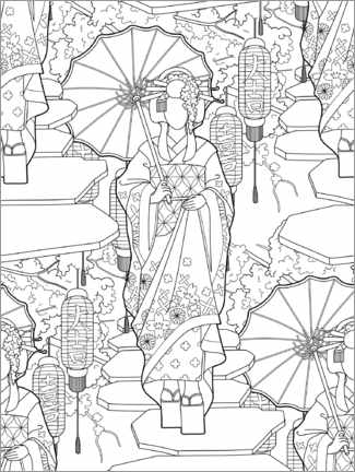 Colouring poster  Geisha