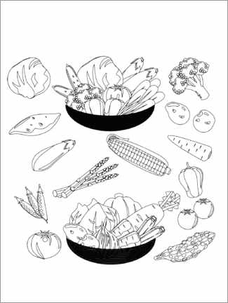 Colouring poster  Vegetable plate