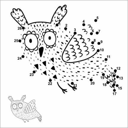 Colouring poster Flying owl