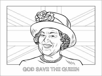 Colouring poster God save the queen