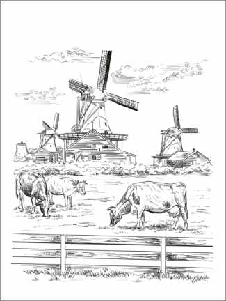 Colouring poster  Dutch windmills