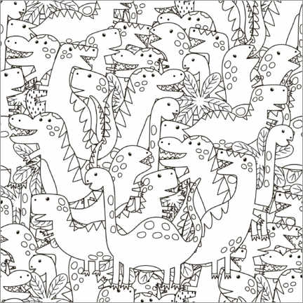 Colouring poster  Dino herd