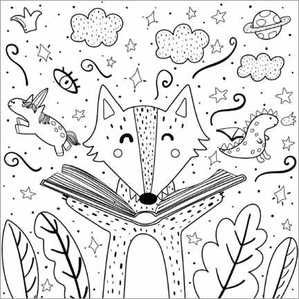 Colouring poster The reading fox