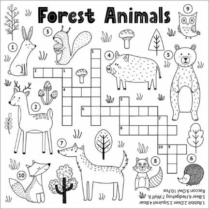 Colouring poster  Forest animal riddle (English)
