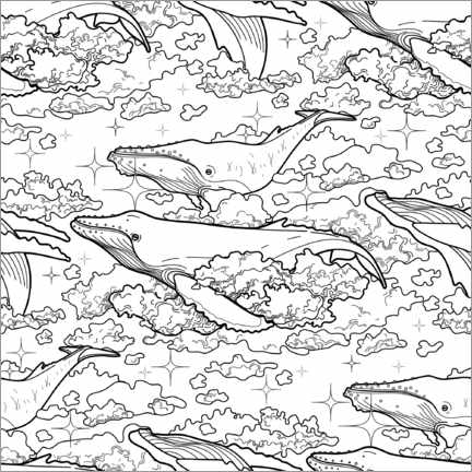 Colouring poster Whales in the clouds