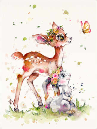Wood print  Fawn and bunny - Sillier Than Sally