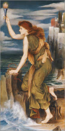 Wall sticker  Hero shows Leander the way with a torch - Evelyn De Morgan