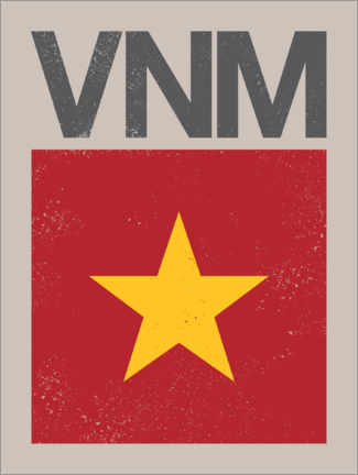Wall sticker  Vietnam retro flag - Swissty