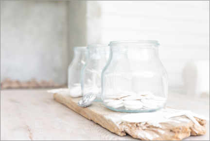 Acrylic print  Jars on a rustic wooden plate - Caia Image