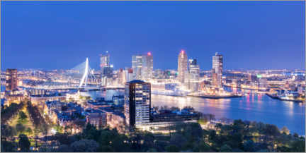 Premium poster  View over Rotterdam, panorama in the evening - Steve Simonsen