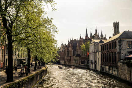 Gallery print  Groenerei Gracht in Bruges in the golden evening light - Jana Ihle