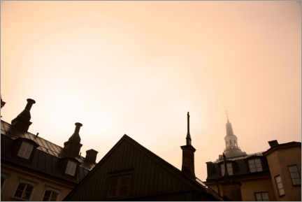 Acrylic print  Roof ridges against a rosy sky in Stockholm - Johner
