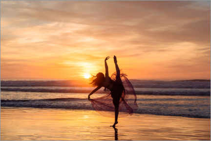 Premium poster Dancer at sunset on the beach