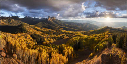 Premium poster Autumn panorama in the mountains at sunset