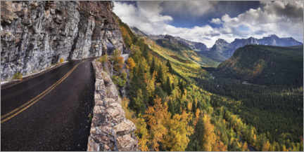 Premium poster Mountain pass in colorful autumn in North America