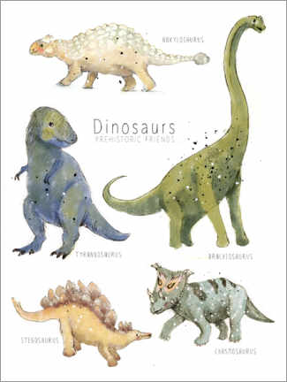 Premium poster  Dinosaurs Every where - Paola Zakimi