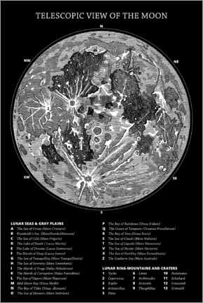 Gallery print  Moon map (english, black) - Wunderkammer Collection