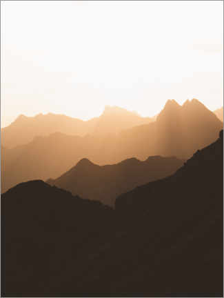 Canvas print  Silhouette of the Alps at sunrise - Lukas Saalfrank