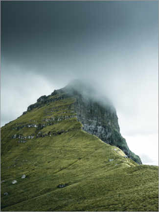 Wall sticker  Rock massif in the fog on the Faroe Islands - Lukas Saalfrank