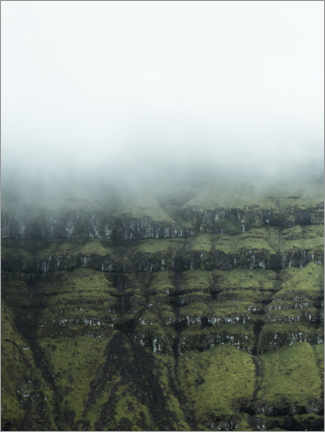 Wood print  Rocks in the fog of the Faroe Islands - Lukas Saalfrank