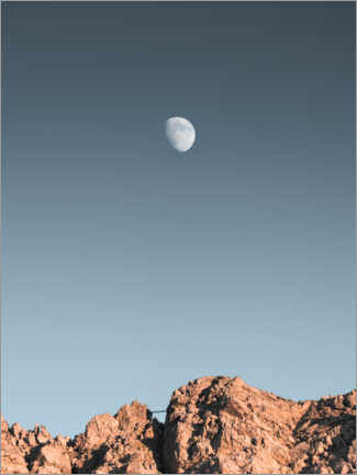 Gallery print  Rising moon over mountain range - Lukas Saalfrank