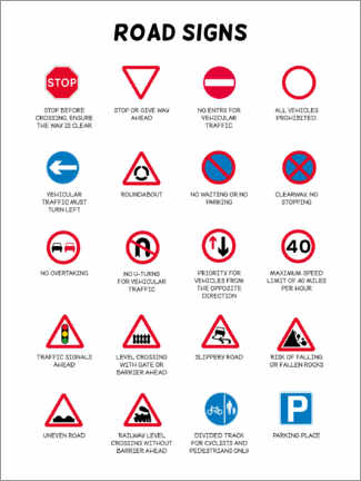 Canvas print  Road signs - Kidz Collection