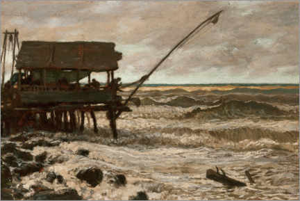 Foam board print  Fisherman's hut in front of Pierhead, Viareggio, Italy - Elihu Vedder