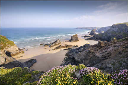 Wood print  Beach with flowers and rocks in England - The Wandering Soul
