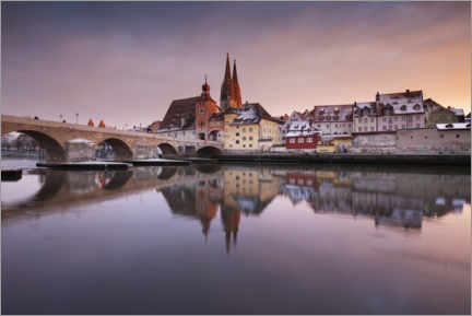 Canvas print  Regensburg in winter at sunset - The Wandering Soul