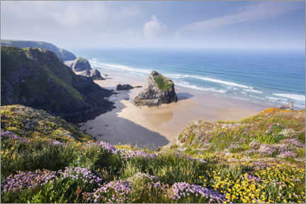 Wood print  Wide beach with flowers in spring in England - The Wandering Soul