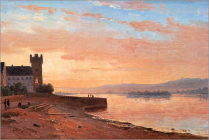 Gallery print  Sunrise on the Rhine at Rüdesheim with the Eagle Tower - Carl Morgenstern