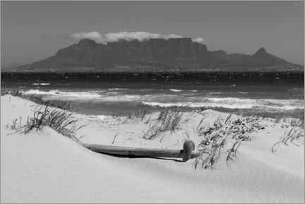 Premium poster  Cape Town, Bloubergstrand black and white - Catharina Lux