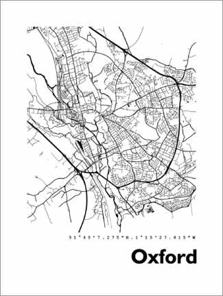Premium poster Map Oxford