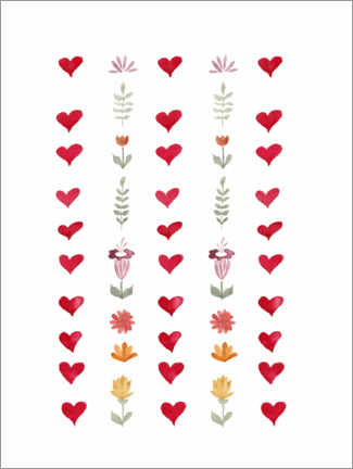 Premium poster Flowers and hearts