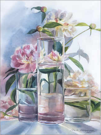 Wood print  Pink peonies in the glass - Maria Mishkareva