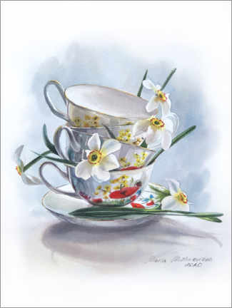 Wood print  White daffodils and vintage cups - Maria Mishkareva