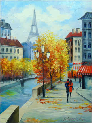 Canvas print  Autumn in the streets of Paris - Olha Darchuk