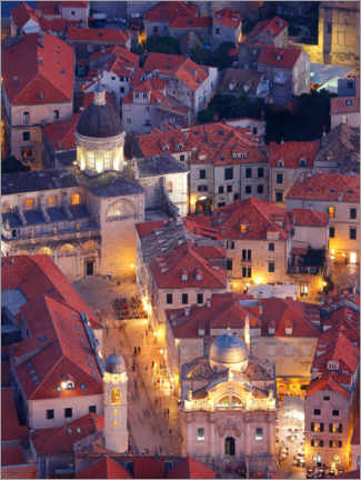 Premium poster  Luza Square and Cathedral of the Assumption in Dubrovnik, Croatia