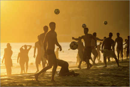 Canvas print  Playing football on the beach