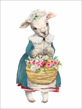Premium poster Sheep with garden flowers