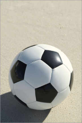 Premium poster Soccer ball on the beach