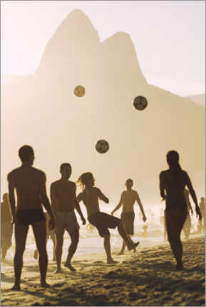 Foam board print  Beach soccer in the sunset