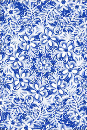 Wood print  Delft blue design