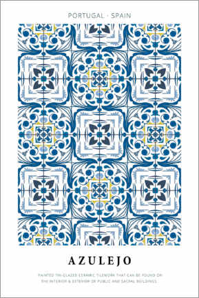 Wood print  Azulejo - Art Couture