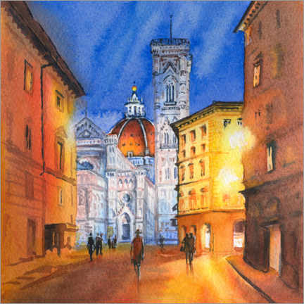 Premium poster Piazza del Duomo in Florence, Italy
