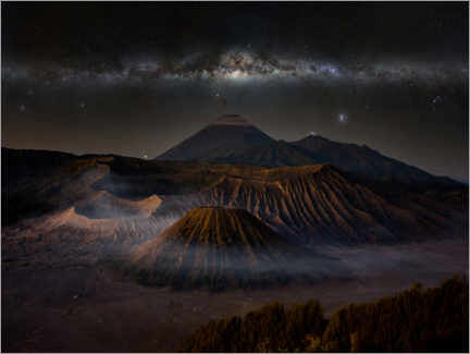 Premium poster  Volcanic landscape with the Milky Way - Nova Art