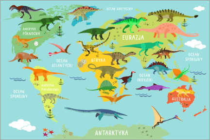 Premium poster World map of dinosaurs (Polish)