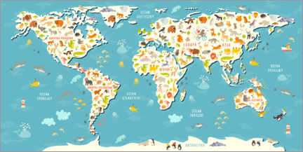 Premium poster World map of animals (Polish)